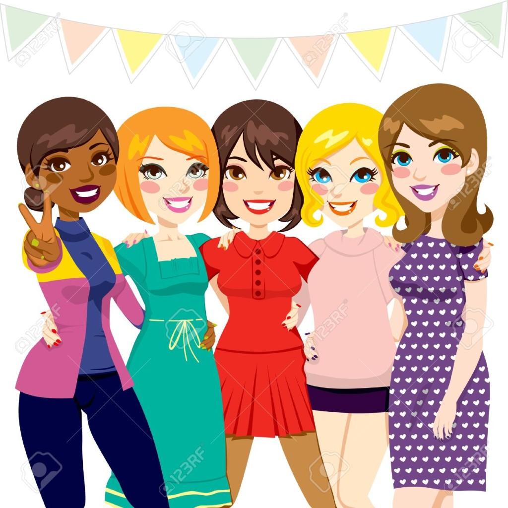 16829627-F-nf-Frauen-Freunden-Spa-zusammen-bei-einer-Feier-Partei-Lizenzfreie-Bilder
